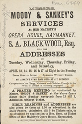 Advert For A Prayer Meeting At Her Majesty's Opera House